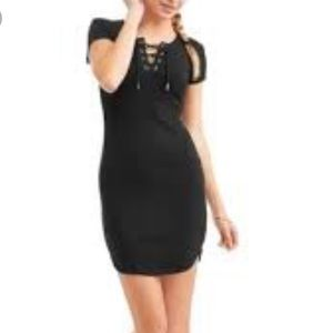 No boundaries black dress with lace up chest!